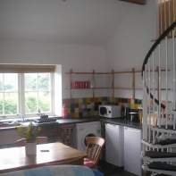 Kitchen with spiral stairs